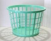 Vintage Retro Turquoise Aqua Teal Plastic Laundry Hamper Basket Photo Prop or Set Decoration