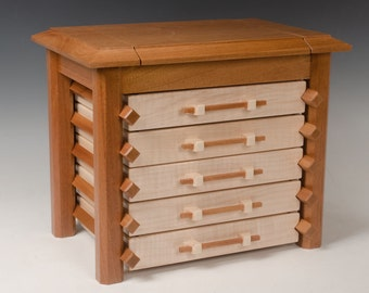 Pagoda Jewelry Box with 5 Drawers and Mirror