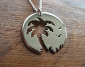 Palm Tree Sunset Birds Silver Pendant Necklace