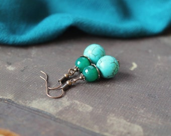 Turquoise Agate Earrings Gemstone Earrings Turquoise Green Dangle Earrings Natural Stones Earrings Turquoise Agate Jewelry Ethnic Oriental