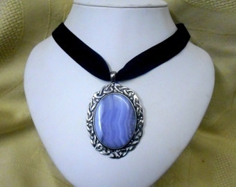 Blue Lace agate Pendant necklace black Velvet Choker Gothic Victorian steampunk Scottish Celtic large healing  jewelry womens accessories