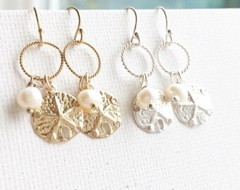 Sand Dollar Earrings / White Pearl Sand Dollar Earrings / Ocean Wedding and Bridal Party Jewelry / Summer Beach Jewelry / Everyday Jewelry