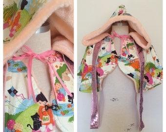 Asian Girl Capelet - Peach Fur Lining - Kawaii - Oversize Raver Girl Cape - Sequin Sparkle Ribbons - FINAL SUPER SALE!!