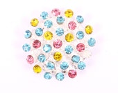 Metal Rhinestone Buttons - 3D button - MEDIUM 26mm - set of  FIVE - Pink Turquoise and Yellow