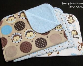 Monkey Burp Cloth Set, Baby Boy Burp Cloth Set, Flannel and Terry Cloth Burp Cloth Set