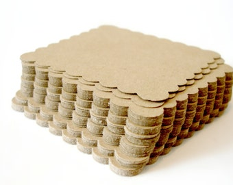 2inch kraft scalloped square, die cuts, embellishment, gift tags, labels, party favors, DIY, scalloped squares 4 dozen