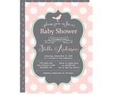 Little Bird Baby Shower Invitation - Peach Baby Girl Invite -- Delicate Nest - Calligraphy Invitation -- Classy Celebration Boutique Printed