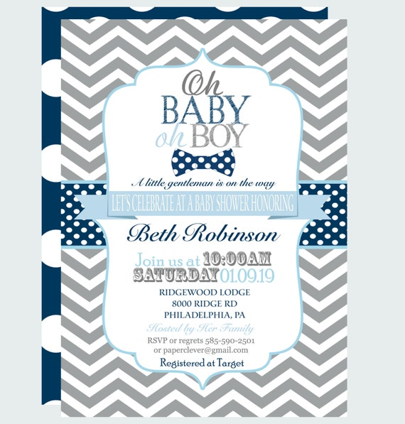 boys bow tie baby shower invitation little man party printable or