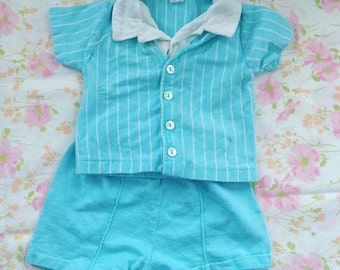 Vintage bright blue knit set 6-12 Months