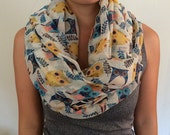 Owl Infinity scarf,infinity scarf, Scarf, Shawl Scarf, Light Weight Scarf, Christmas Gift, Woman Scarf ,Woman Accessory