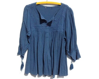 MEXICAN GAUZE Embroidered Peasant BabyDoll Top