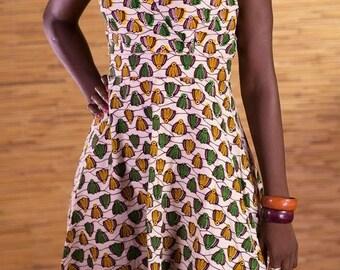 African wax-print open back, V neck wide skirt dress, African dresses, ankara dress, handmade fair-trade dress from Burkina Fa