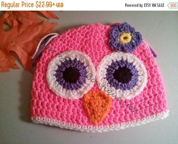 SALE Baby Owl Hat Crochet - Newborn NB Beanie Boy Girl Costume Halloween  Costume Photo Prop Christmas Gift Winter Outfit