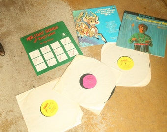 5 Vintage Chrismas or Holiday Records, Records, Classic Kids Songs, Record Player, Rudolph, Santa Clause is Coming to Town, Little Drummer