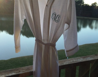 Monogrammed Waffle Weave Robe