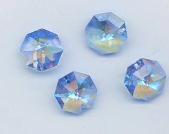 Four vintage Swarovski 14 mm crystal octagon pendants with rare blue AB flash - art 8115 - medium sapphire blue AB - Strass logo!