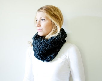 SUMMER SALE The MORGAN - Chunky Cowl Neckwarmer Scarf - Charcoal - Wool Blend