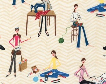 Robert Kaufman - Crafty Fashion Ladies - Multi - Novelty Fabric - Choose Your Cut Full or Half Yard