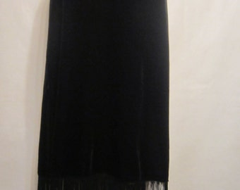 Black Velvet Mid Length Skirt with Fringe