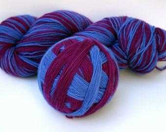 """Self Striping Sock Yarn, Superwash Merino and Nylon Fingering Weight, in """"Atomic Anemone"""""""