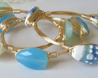 "Set of 3 Aqua Blue Chalcedony and Lampwork Glass Bangle Bracelets ""Bourbon and Bowties"" Inspired"