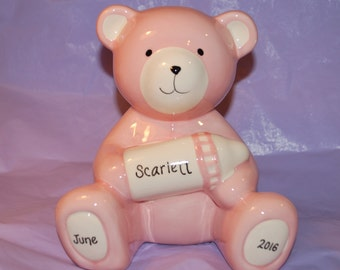 Personalized Pink Baby Bear Piggy Bank