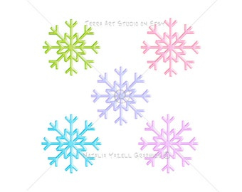 Snowflakes Dance, value set of 5 colors, digital graphic, instant download, colorful clip art for scrapbooking and crafts
