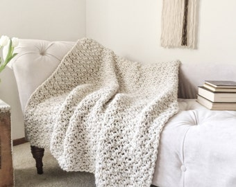 Crochet Blanket Throw Chunky Knit Afghan Handmade The Original BIRCH Blanket Wheat
