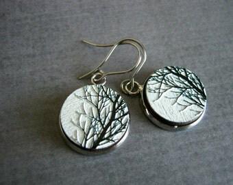 Wood Tree Earrings : Black White Branch