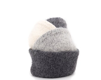 WOOLY FELTED BOWLS  four felted nesting bowls - shades of grey and natural/cream 13*