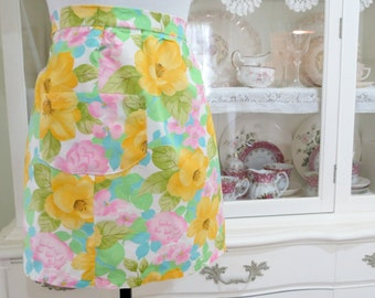Vintage Apron, Handmade Easter or Spring Hostess Apron, Womens Half or Waist Apron, Pink Teal Yellow Green, Vintage by TheSweetBasilShoppe