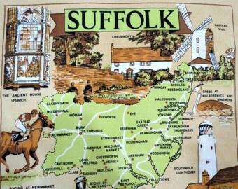 English Tea Towel,  Souvenir Tea Towel, Images of Suffolk England, Map Towel, Richlin Kitchen Towel,  Vintage Linens by TheSweetBasilShoppe