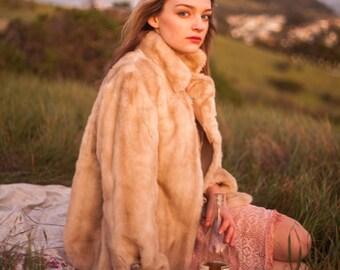 70's Vintage Cream Faux Fur Lined Jacket Outerwear Coat
