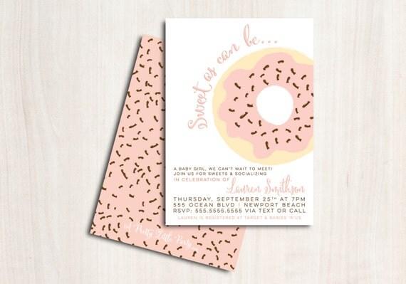 Doughnut Baby Shower Invite - Shower Invitation - Baby Girl Shower - Party Supplies
