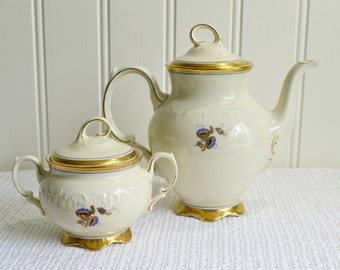 Coffee and tea duo with pot and sugar bowl, vintage Swedish art deco porcelain, gold, off white and lilac