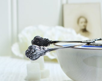 Tiny ornate sugar, candy and praline serving tongs, vintage Swedish silver plate, Amsterdam pattern, Nils Johan Sweden