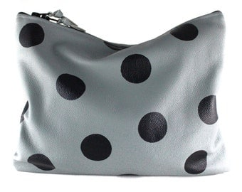 NEW! Polka Dot Leather Statement Clutch | Cowhide Leather | Handbag | Polka Dot Bag | Gray Leather | Handmade