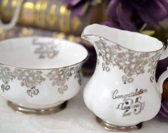 Royal Albert 25th Anniversary Cream And Sugar Set, English Bone China, Replacement China, ca 1970