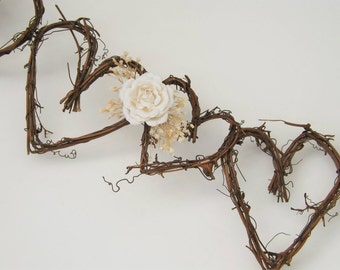 Rustic Wedding Garland Twig Garland Backdrop Garland Rose Country Barn Wedding Decoration Cake Table Garland Made to Order