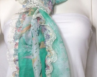 Long Scarf Lace Scarf Summer OOAK Scarf For Her Fashion Accessories Gift Ideas Birthday Gift For Her Fashion Scarf Gift for Mom