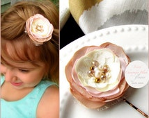 Gold Blush Ivory Champagne Flower Girl Hair Accessory, Blush Girls Wedding Hair Flower, Blush Flower Piece, Hairpiece, Pink Blush Hair Clip