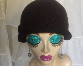Brown Vintage Inspired Crocheted Felted Cloche Flapper Hat 'Carrie Bell'