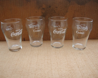 Vintage Drink Coca Cola / Enjoy Coke Glasses  Set of Four Small Coca Cola Fountain Glasses