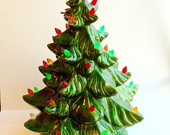 Vintage Ceramic Christmas Tree Atlantic Mold Plug In Internal Light to Light Up Plastic Bulbs and Birds On Tree