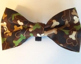 Camouflage Bones Dog Bow Tie, Pet Bowtie, Doggie Bow Tie