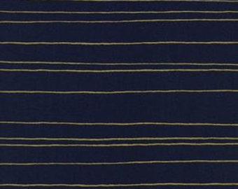 Fruit Dots - Gold Stripe in Navy Metallic - 0031-1 - Melody Miller for Cotton + Steel - HALF YARD