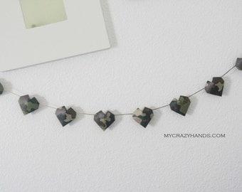 camo origami heart garland || 3D heart banner ||| military wedding garland || | gift for him {heart like a balloon}