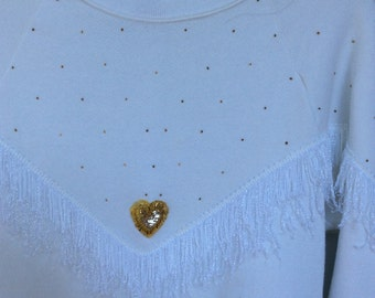 Western style top with gold beads, gold beaded heart appliqué and white fringe - Sale