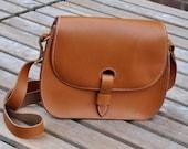 Handmade genuine tan leather shoulder bag