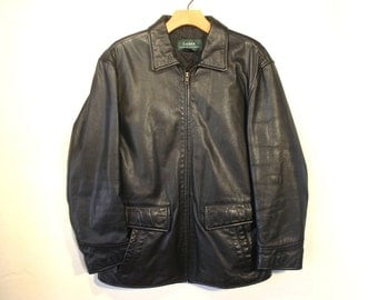 Vintage Black Genuine Leather Coat by Ralph Lauren, Zip Front, Quilted Lining, Women's size S